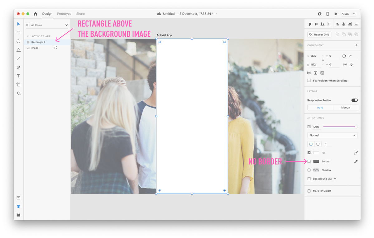 Applying a mask overlay to an image in Adobe XD