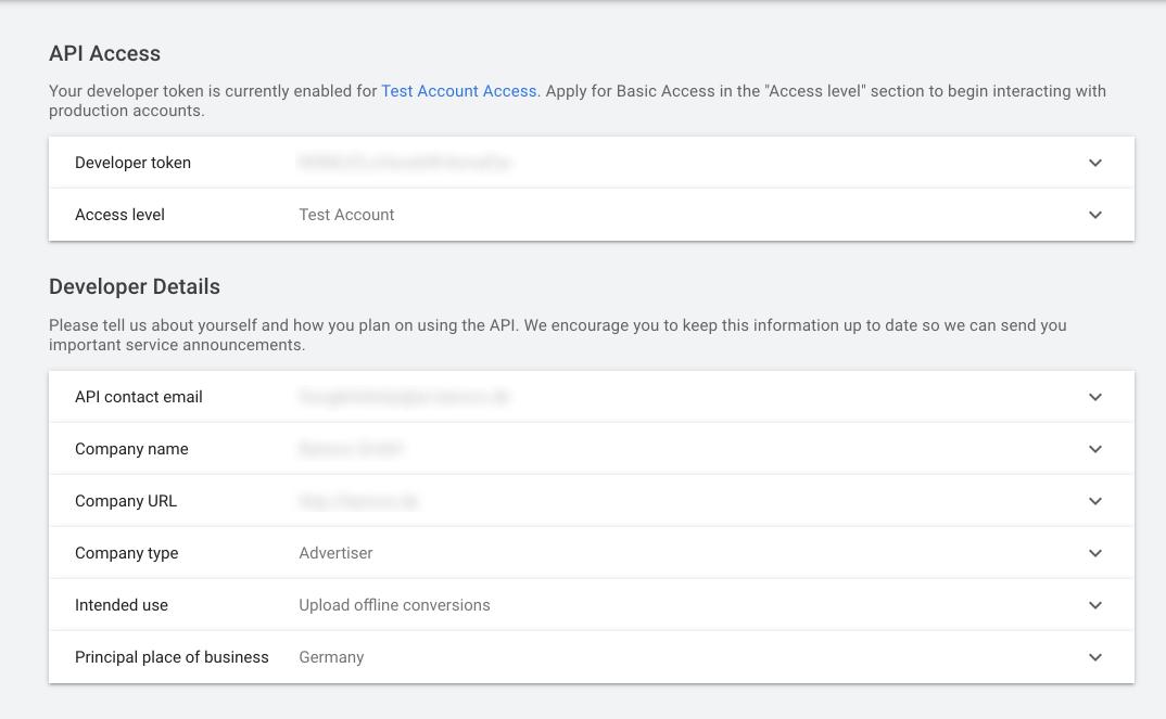 API Access Screenshot