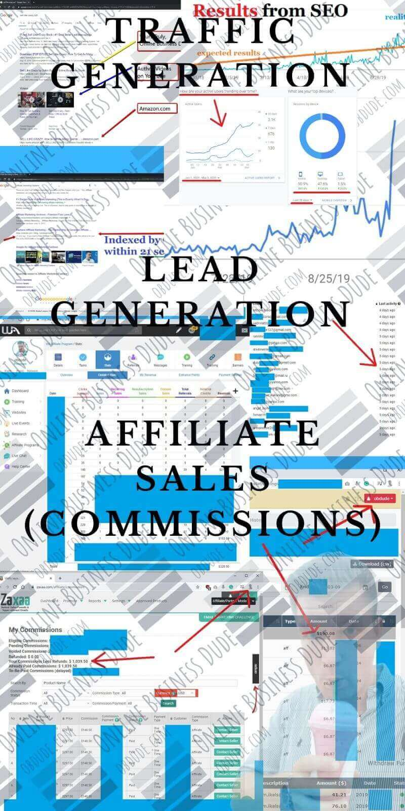 Excerpt of results from affiliate marketing