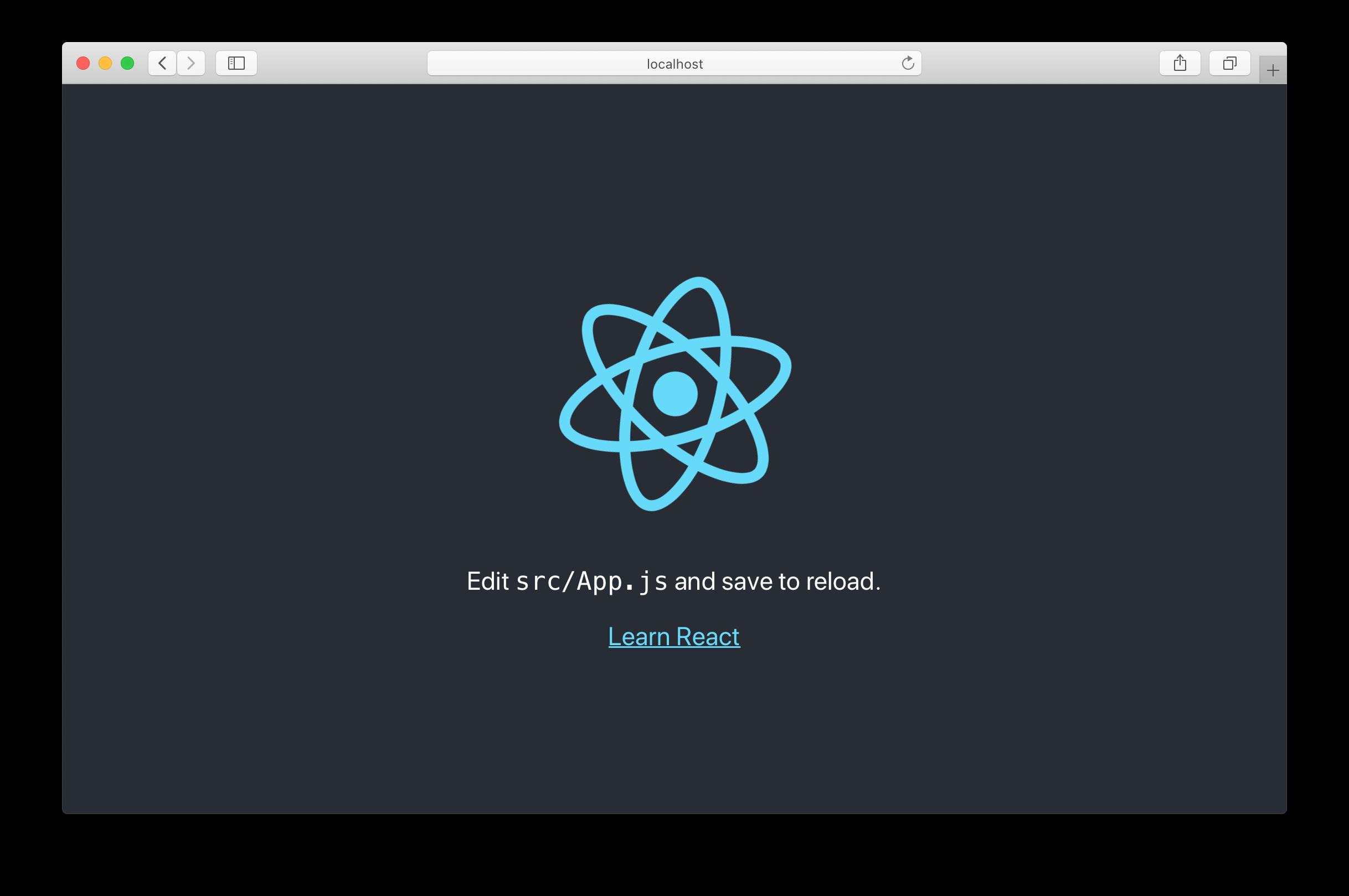 신규 Create React App 화면