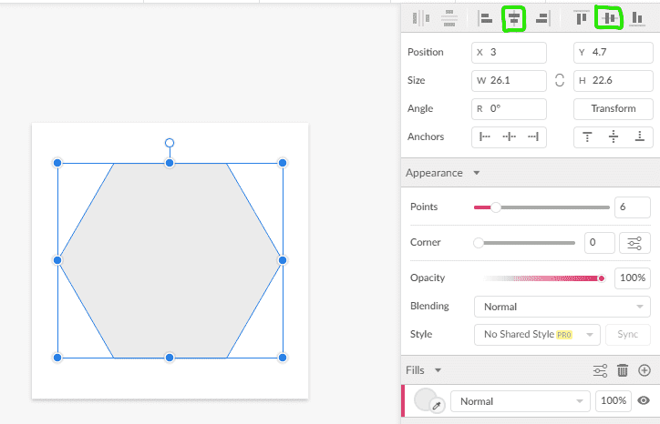 created polygon and align middle/vertical buttons outlined