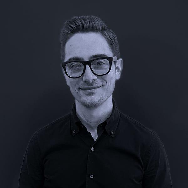 Black and white photo of Mojo Aaron Montecalvo