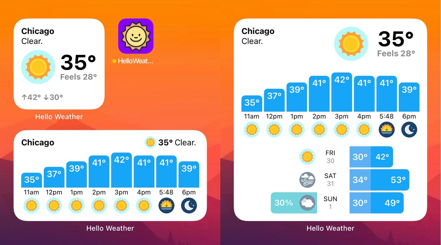 iOS home screen widgets