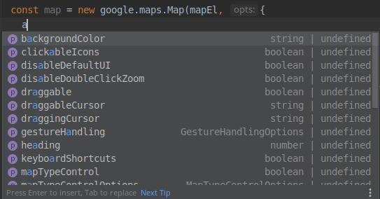 TypeScript intellisense google maps