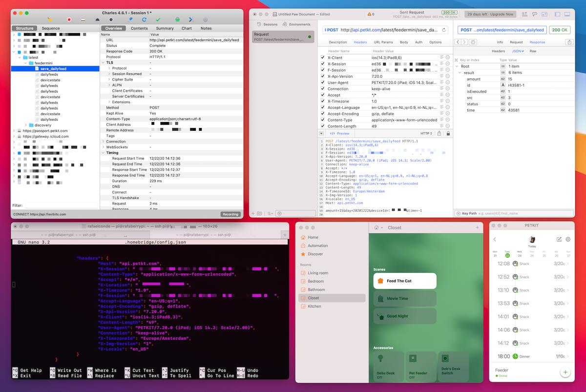 Screenshot of a Mac running Charles, Terminal, Paw, Petkit, and Home.