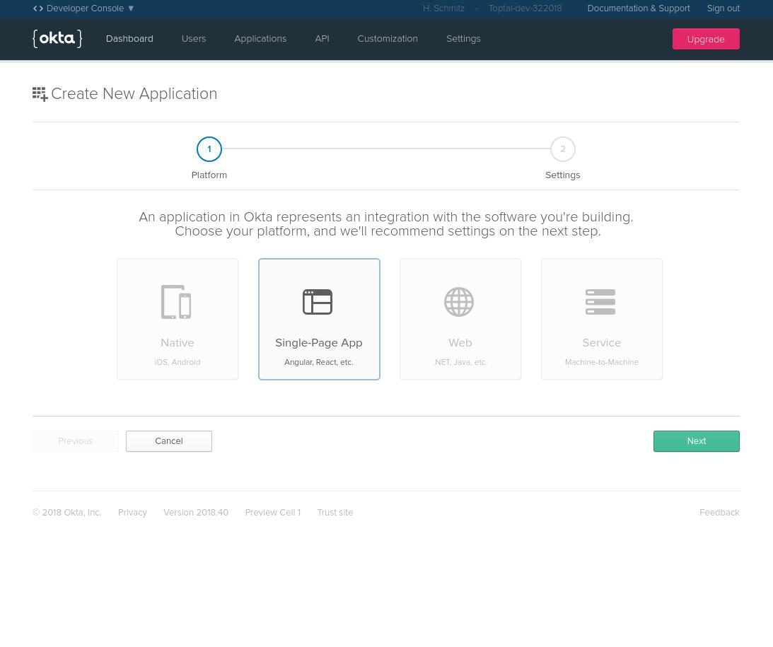 Register a new singe-page app with Okta