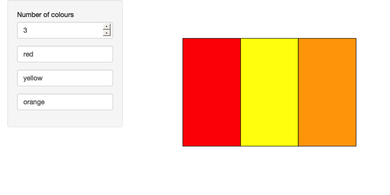 Filling out the colours of the rainbow (left), then reducing the number of colours to 3 (right); note that the existing colours are preserved. See live at <https://hadley.shinyapps.io/ms-render-palette-full>.