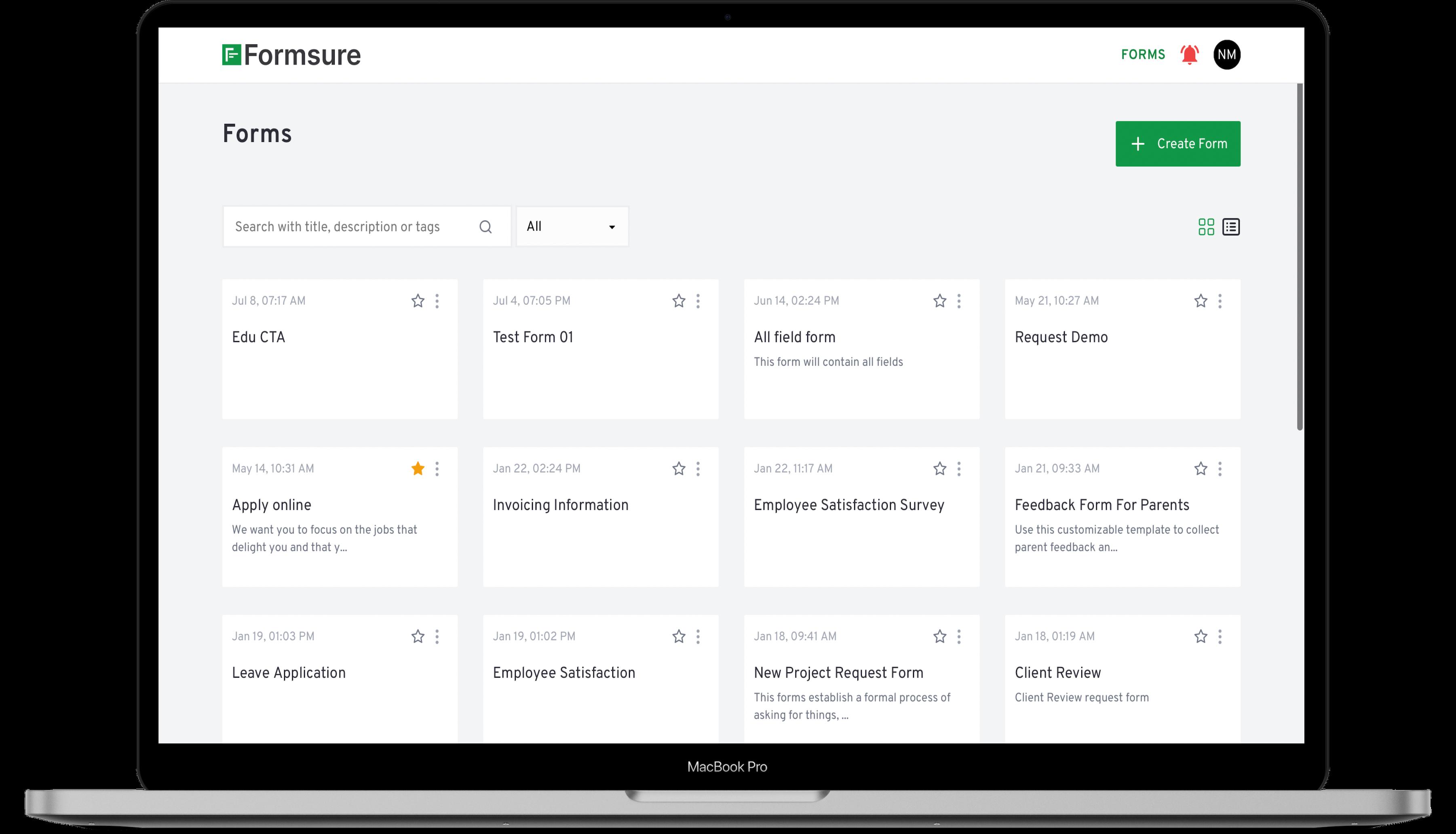 Form builder for surveys, polls, and quizzes