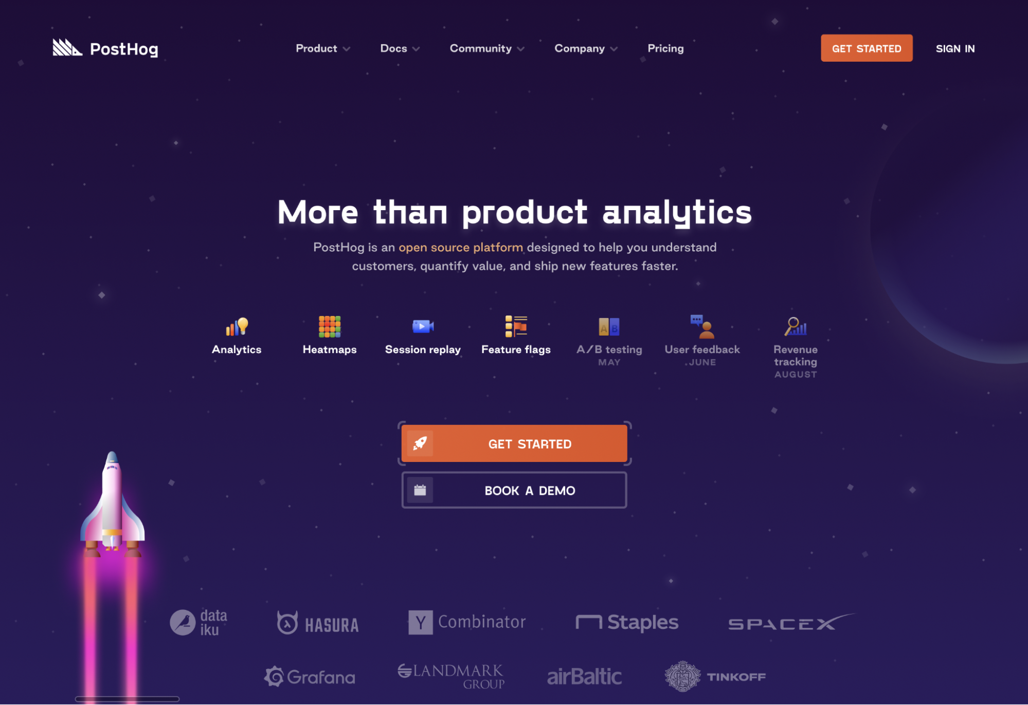 Space brand - PostHog homepage