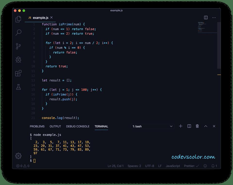 javascript prime numbers below 100