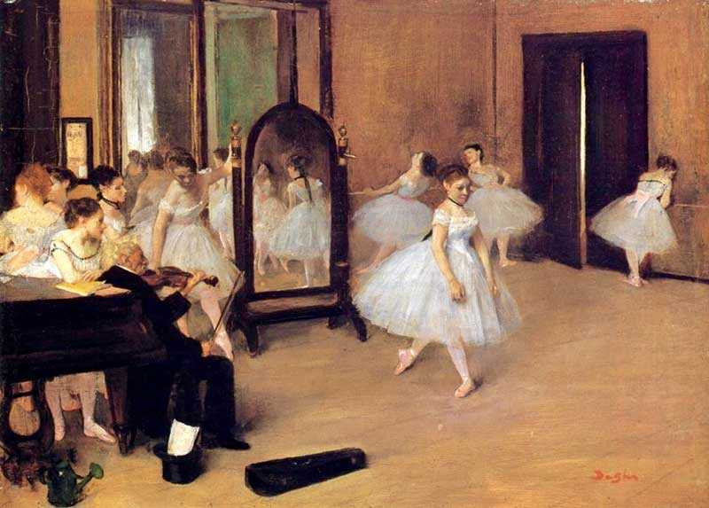 Another Degas Dancing Class, this time with the ballerinas surrounding an elderly violinist.