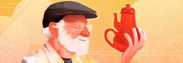 Don Normal avec la théière représentée sur la couverture de son livre 'Design of everyday things'