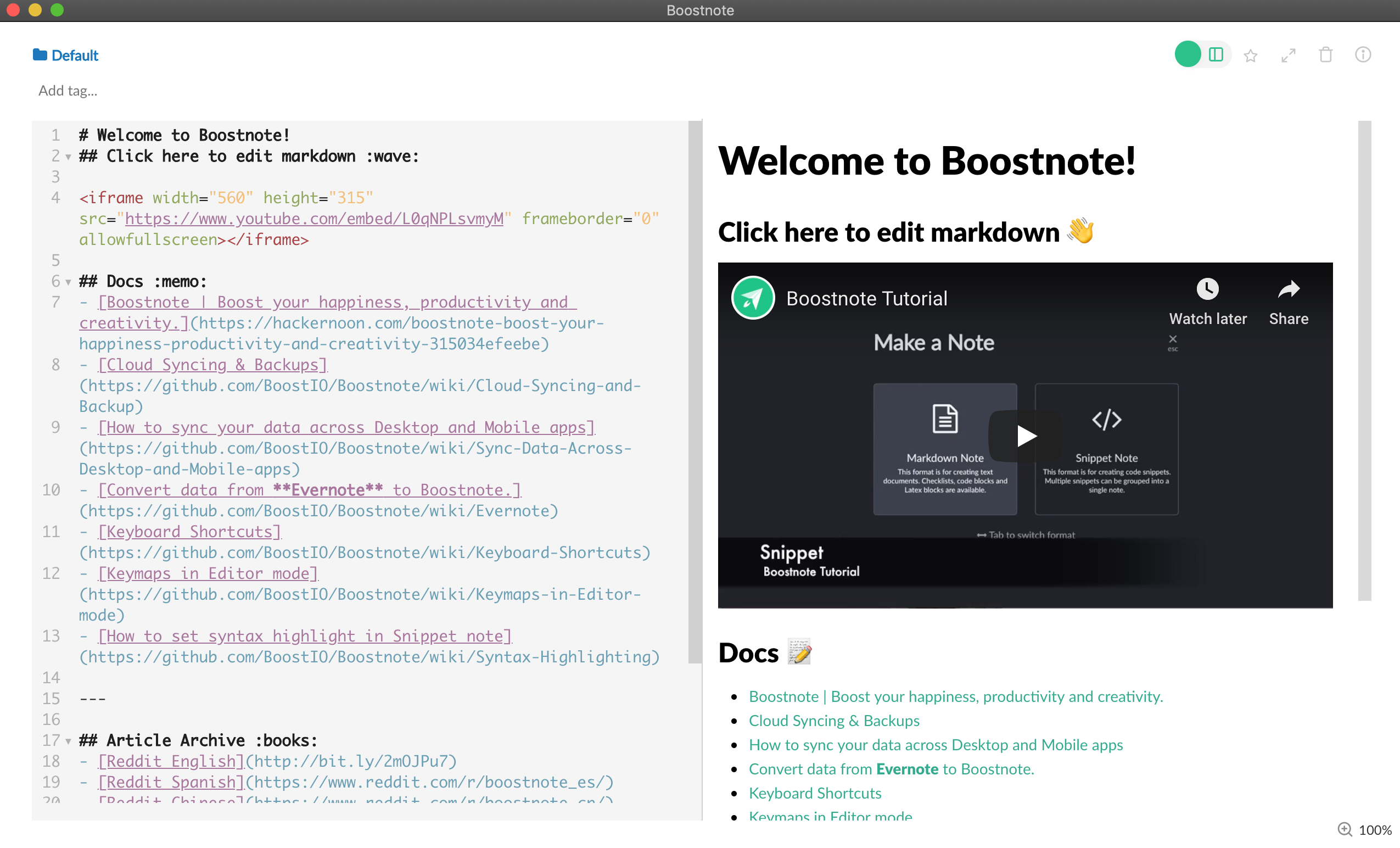 Boostnote Markdown application
