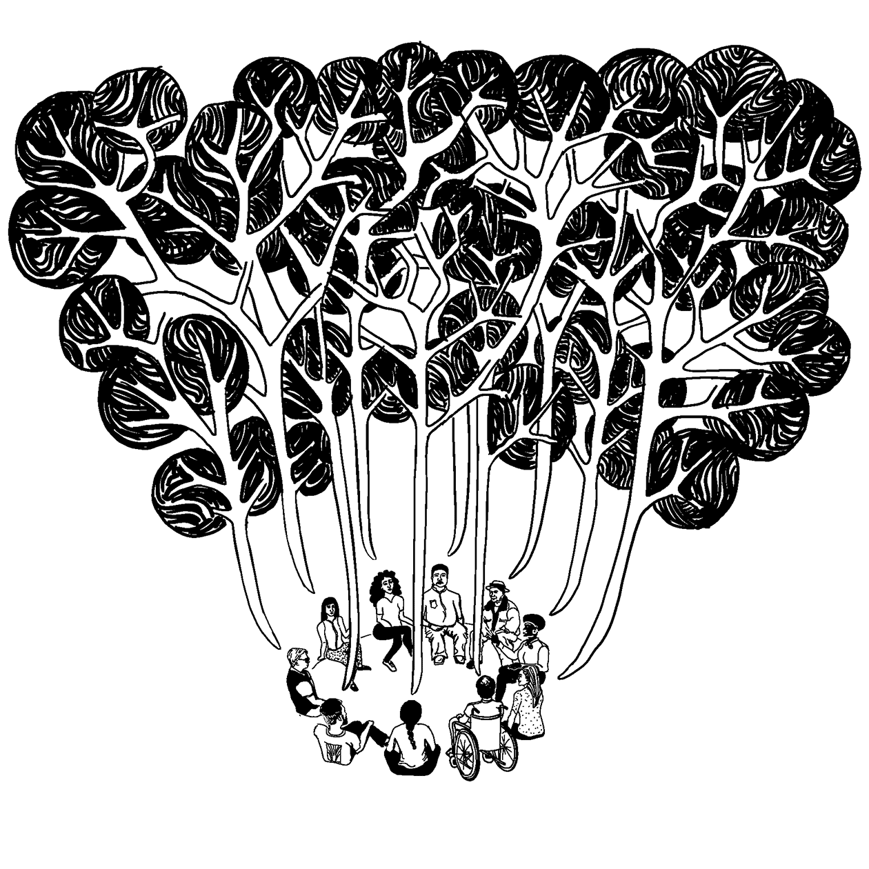 Black and white drawing showing a diverse group of community residents sitting in a circle having a conversation. Conversation bubbles are coming out from each person, and above the group the conversation bubbles are interminging to form trees in a forest.