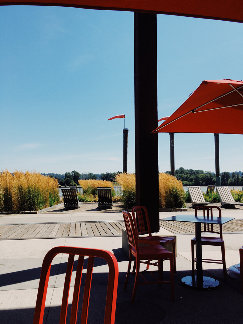 Outdoor seating on a sunny day.