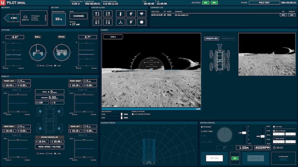 First screen of the Pilot interface.