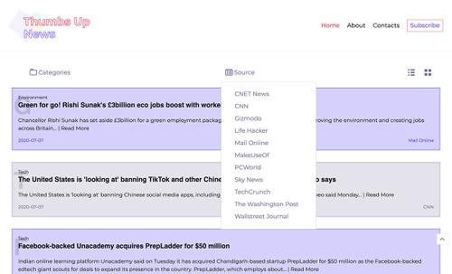 Thumbsupnews Home Page List view