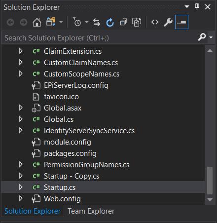 Visual Studio solution explorer Startup.cs