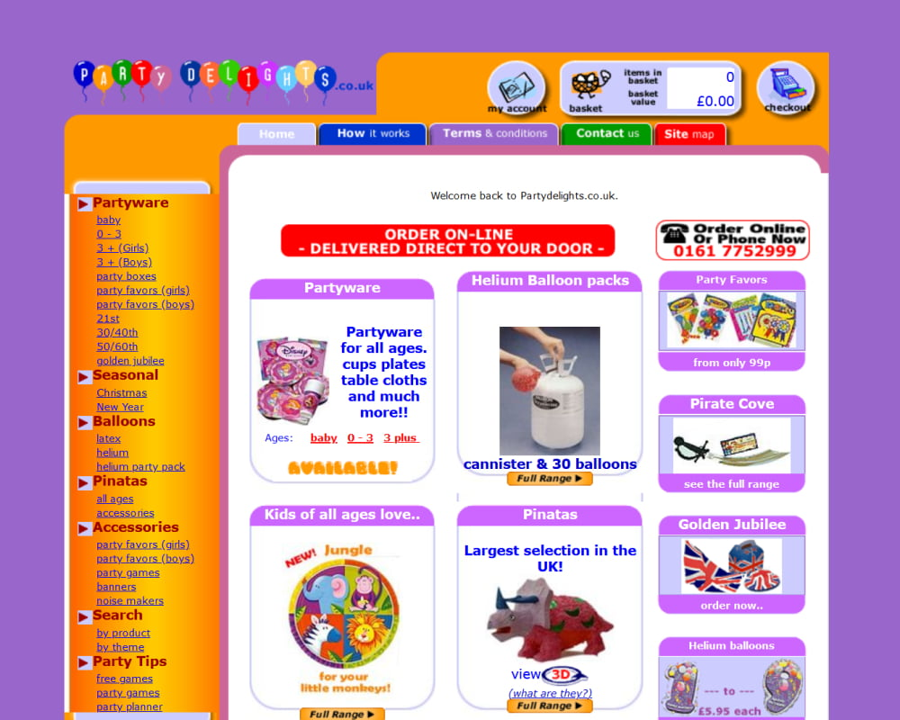 Party Delights website with a lilac background and orange borders and balloon logo.