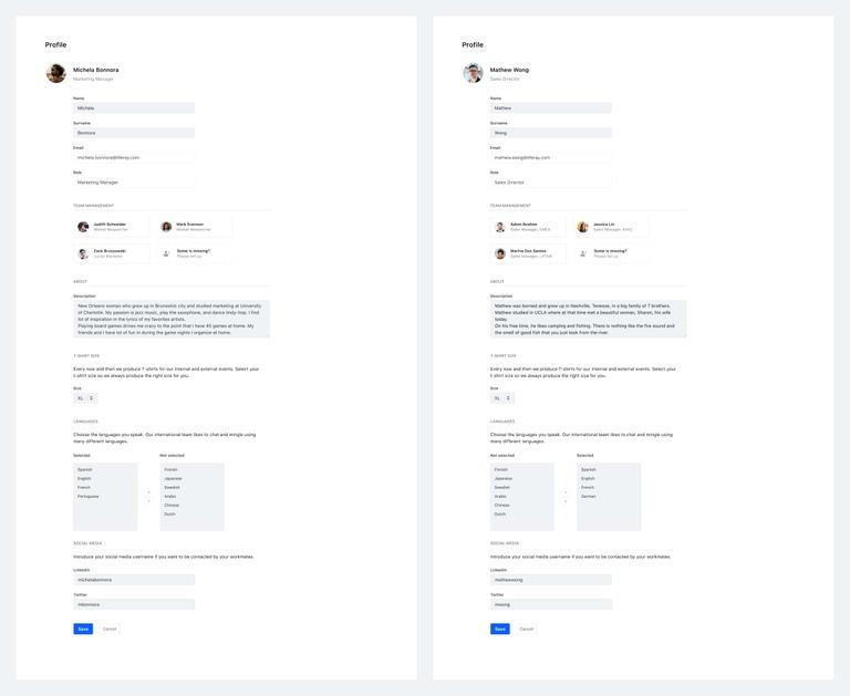 Test environment. Figma interactive mockups. Version 1 - environment A (left), Version 2 -environment B (right)