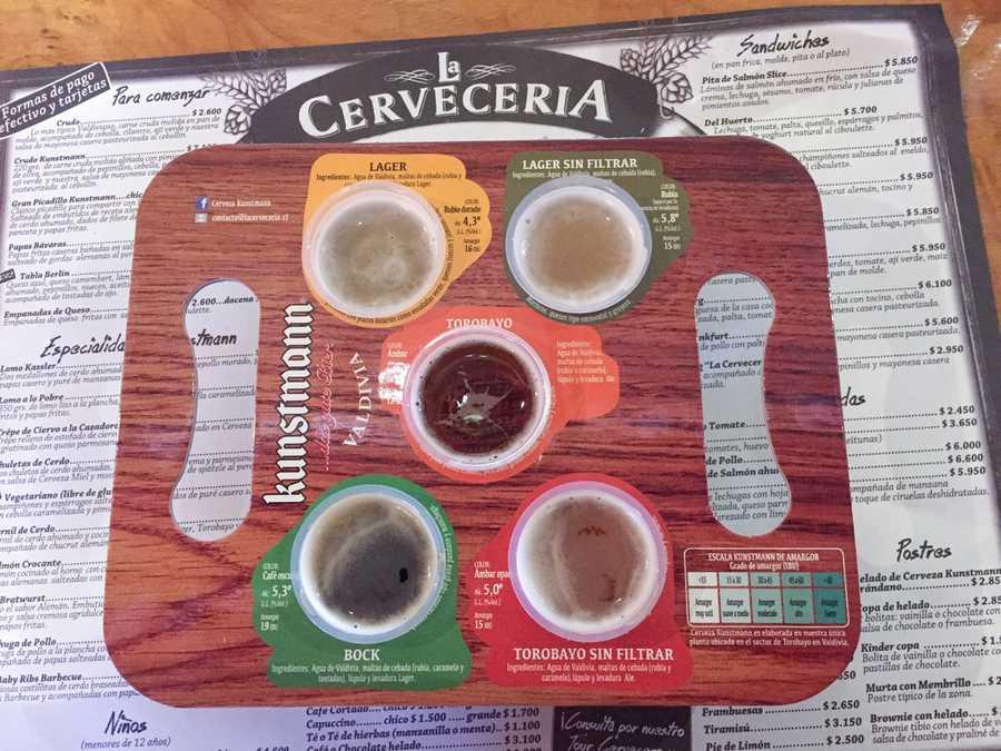 kuntsman beer sampler in Valdivia