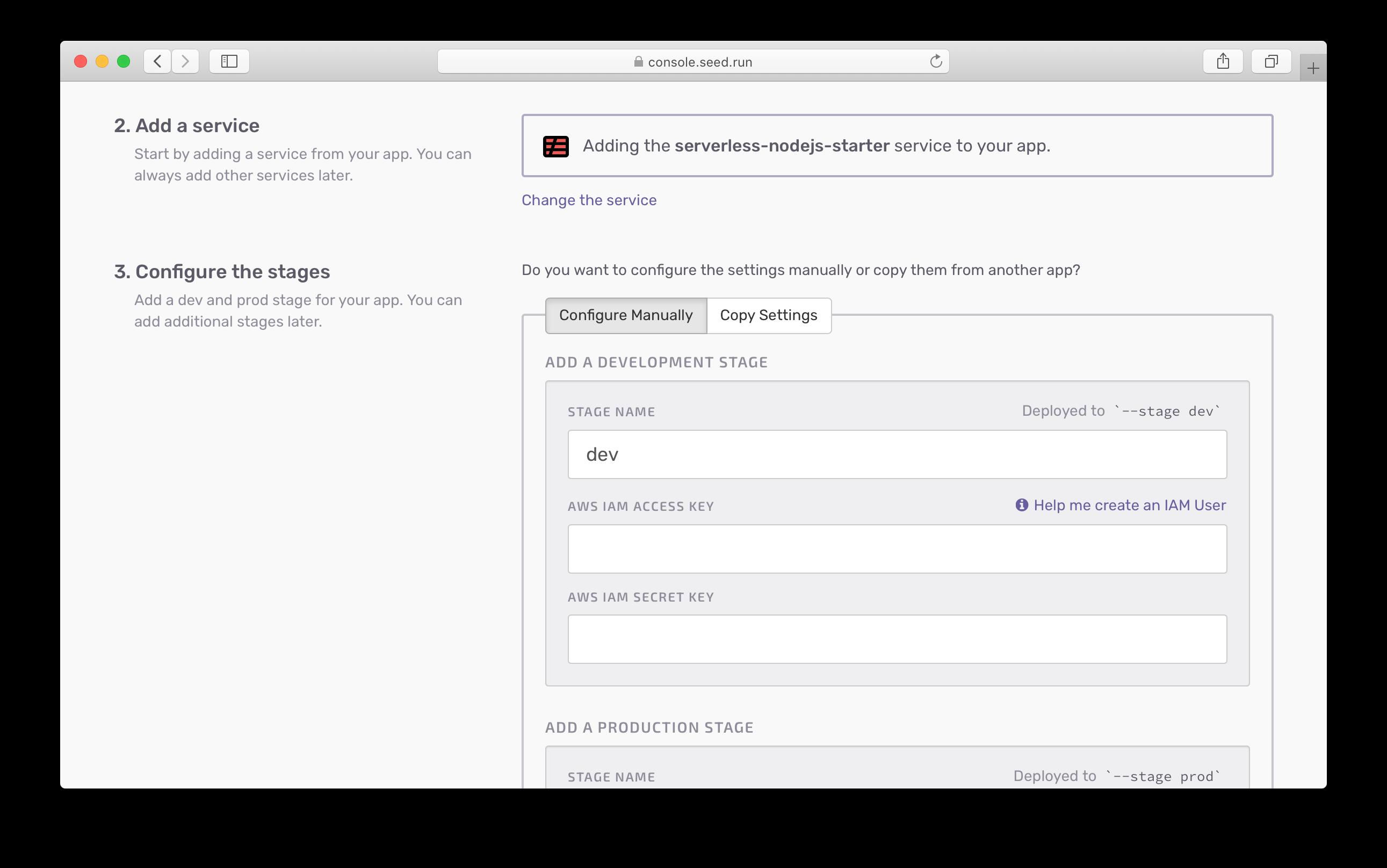 Configure IAM user for a new app