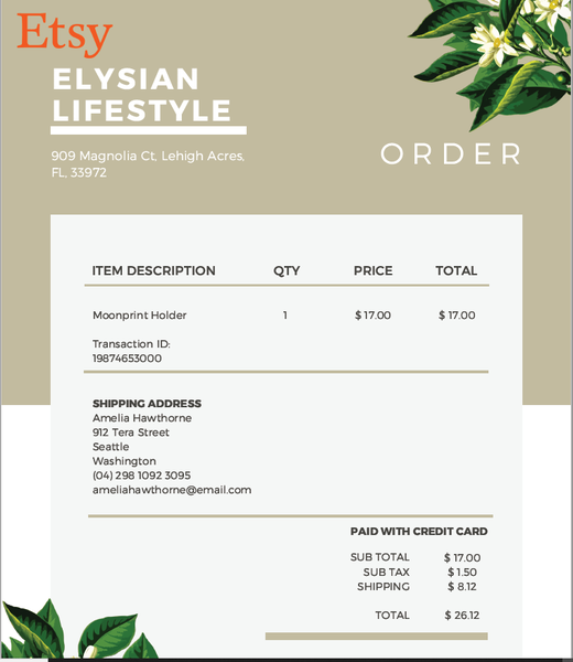 Etsy order example