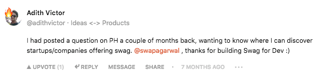 Swag for Dev Product Hunt Comment 1