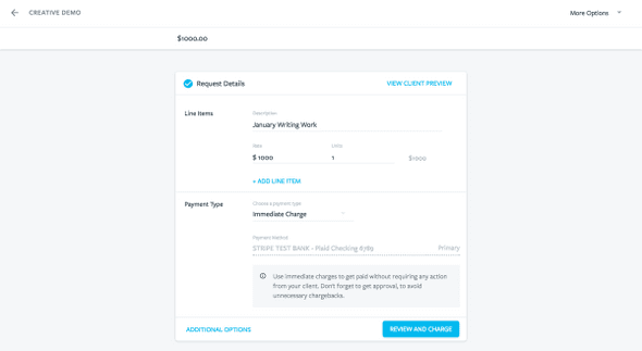 Screenshot of the updated payment request flow