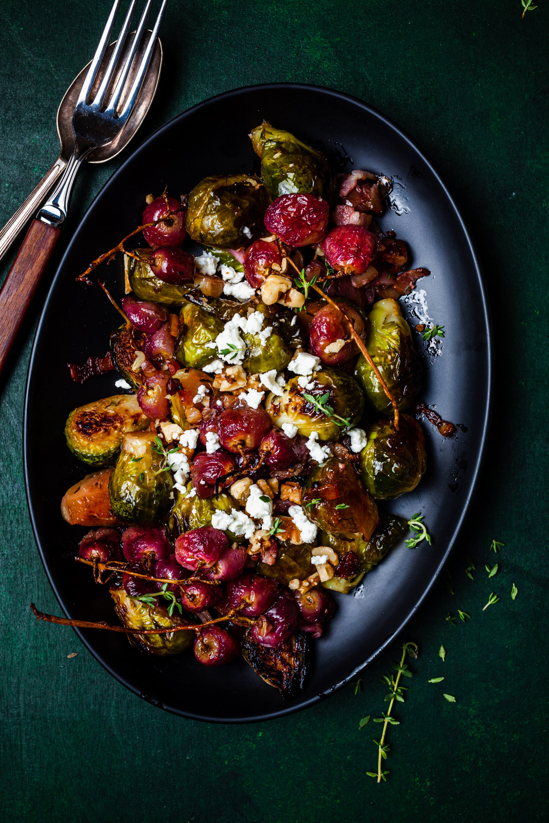 Roasted Brussel Sprouts and Grapes With Bacon