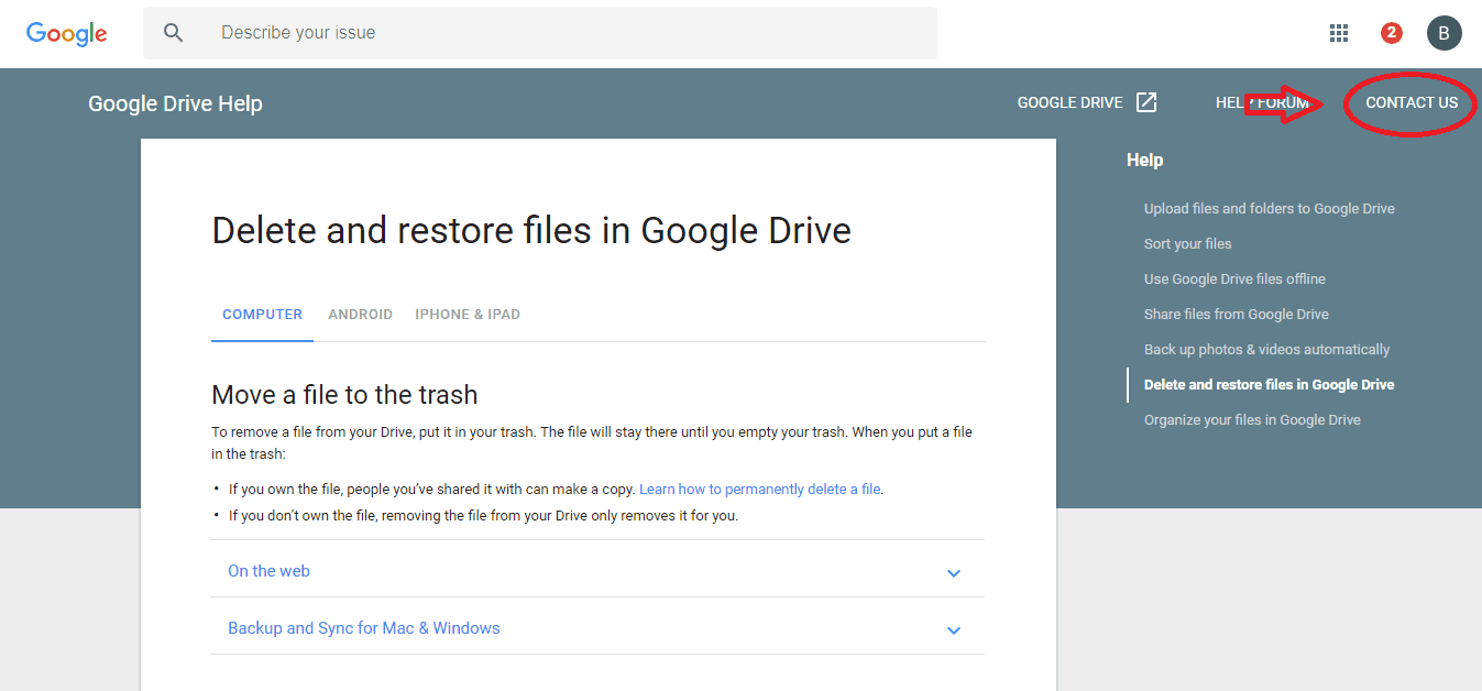 Contact Us Google Drive