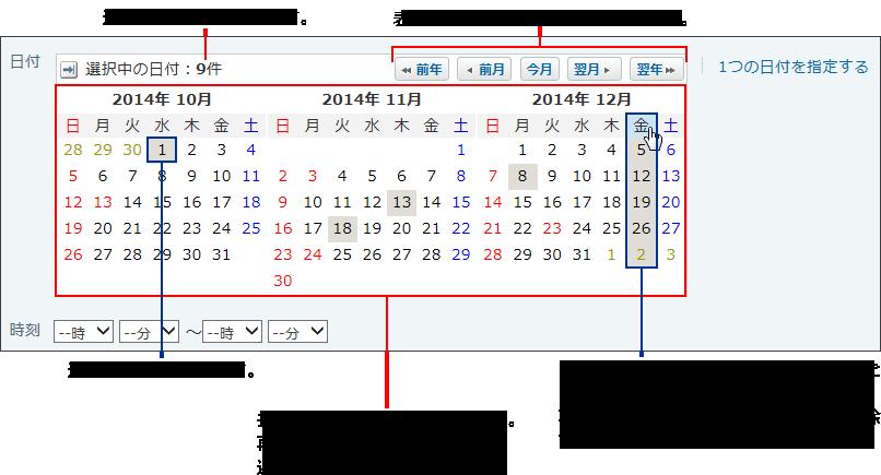 複数の日付を指定する操作リンクが赤枠で囲まれた画像