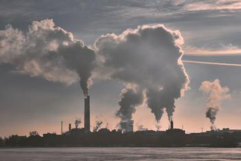 toxic air with PM2.5 emitted by factories