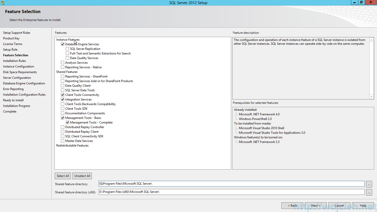 "SQL Server 2012 SP1 - Feature Selection"""
