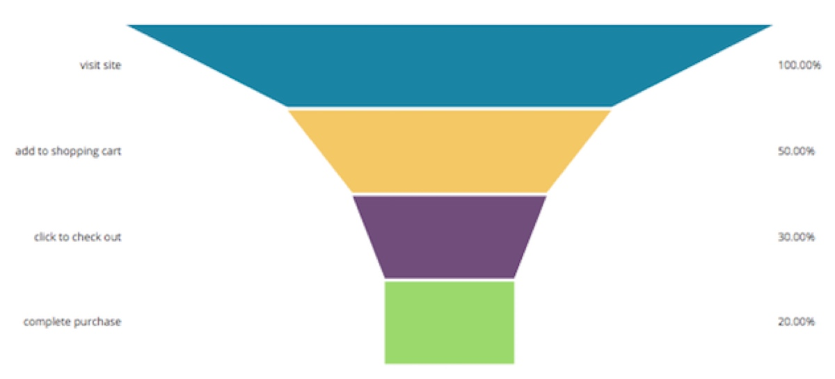 A funnel showing what percentage of users: visit the site, put in shopping cart, click to check out, and complete purchase