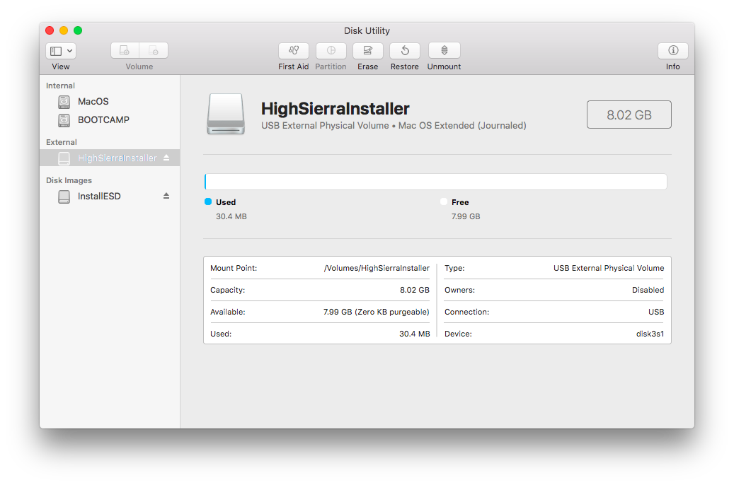 Dummies guide to creating a USB boot disk to install macOS High