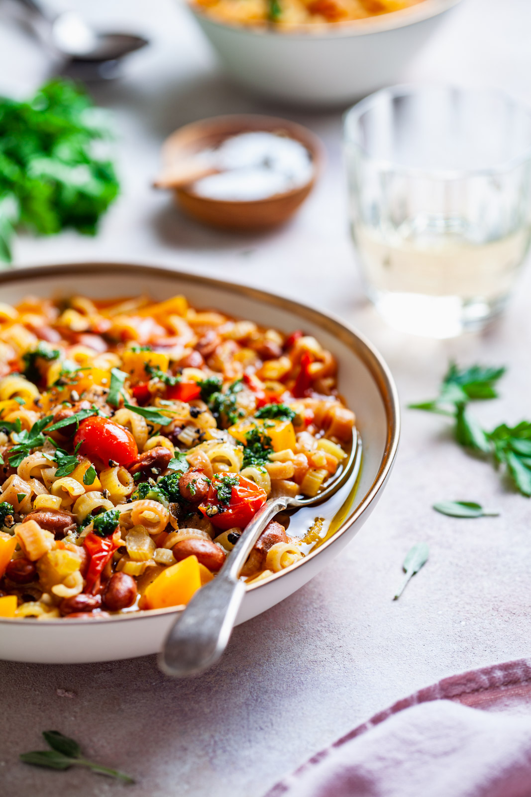 Borlotti Bean and Pasta Stew With Butternut Squash and Sage Pesto