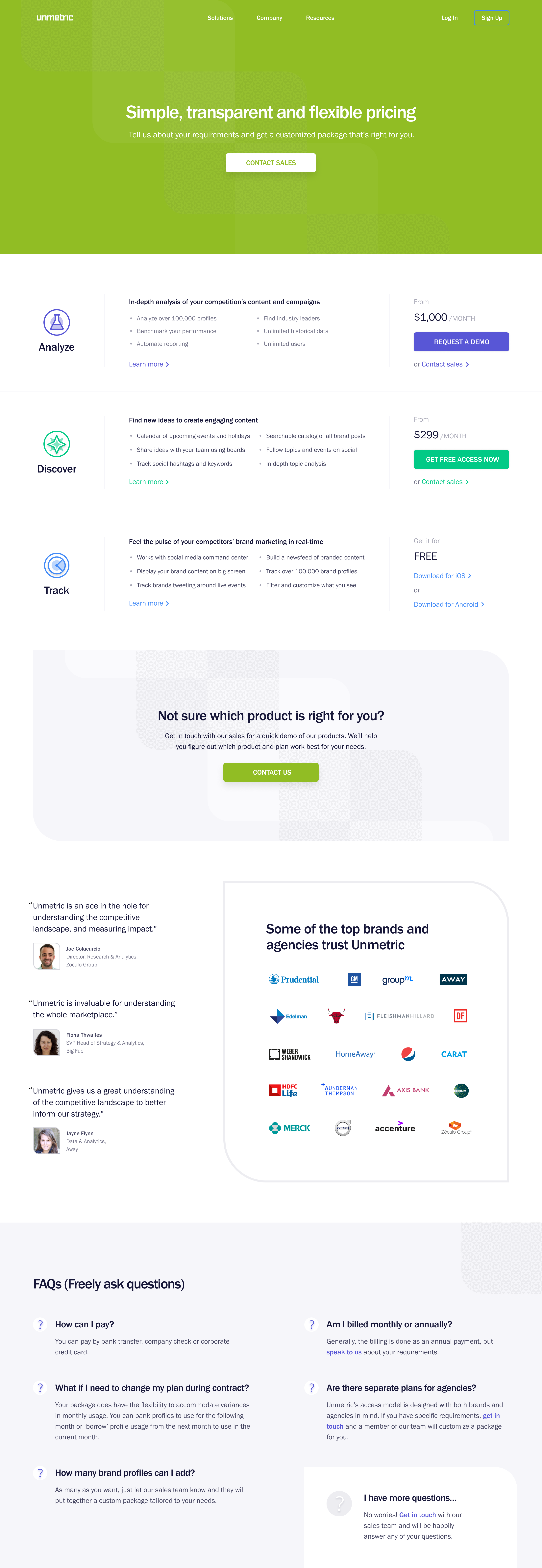 Unmetric Pricing Page