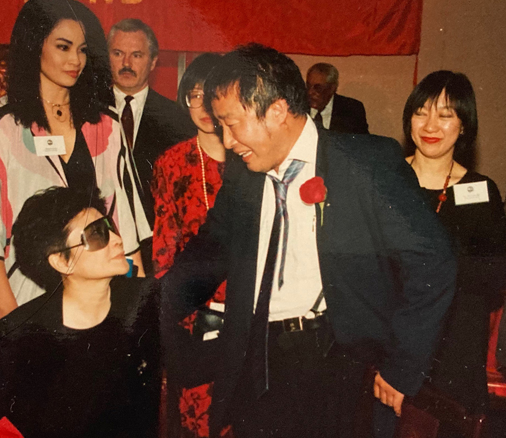 AALDEF lunar new year gala 1993 - with Justice in Action award recipient Yoko Ono and Nam June Paik. Photo courtesy of AALDEF
