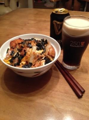 katsudon and beer