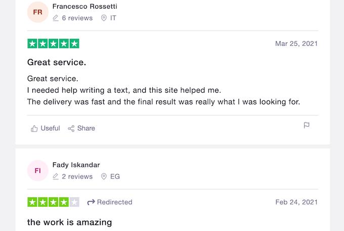 trustpilot reviews about evolutionwriters.com