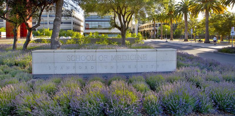 Stanford University School of Medicine sign on campus