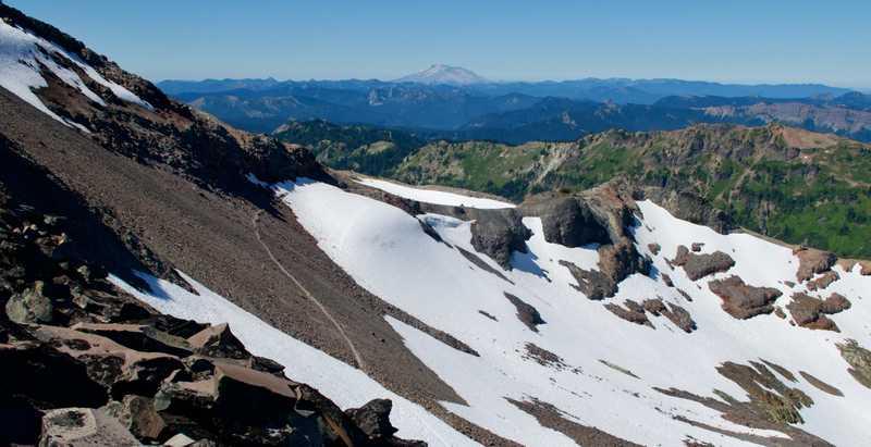 Looking across Packwood Glacier to Mt. St. Helens