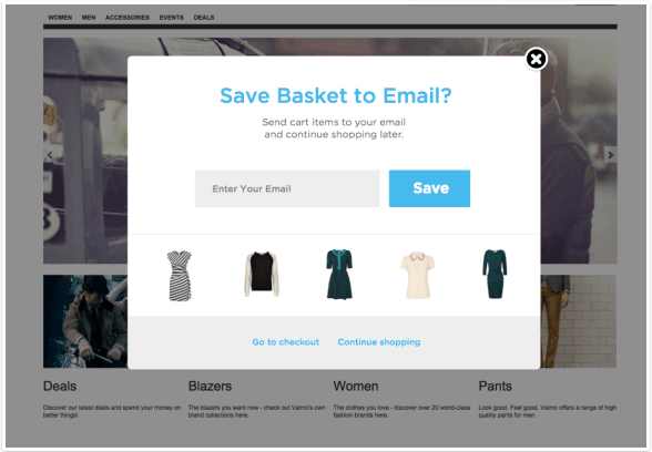 Email collecting popup