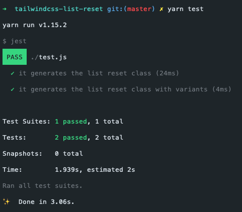 A screenshot of the Jest output after running the tests, showing 1 passed test suite and 2 passed tests, as well as the test run time.