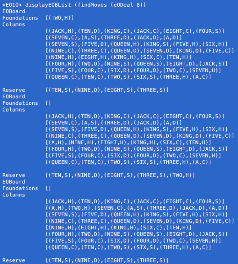 haskell Solitaire auto solve code screenshot