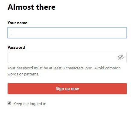 Todoist's sign-up screen: good example of concise copy