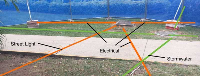 photo with annotated markings to show underground services