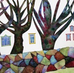 "Kelli Valk, Estonia. ""Mõned aknad"" 2017. Water colour, 50x70cm"