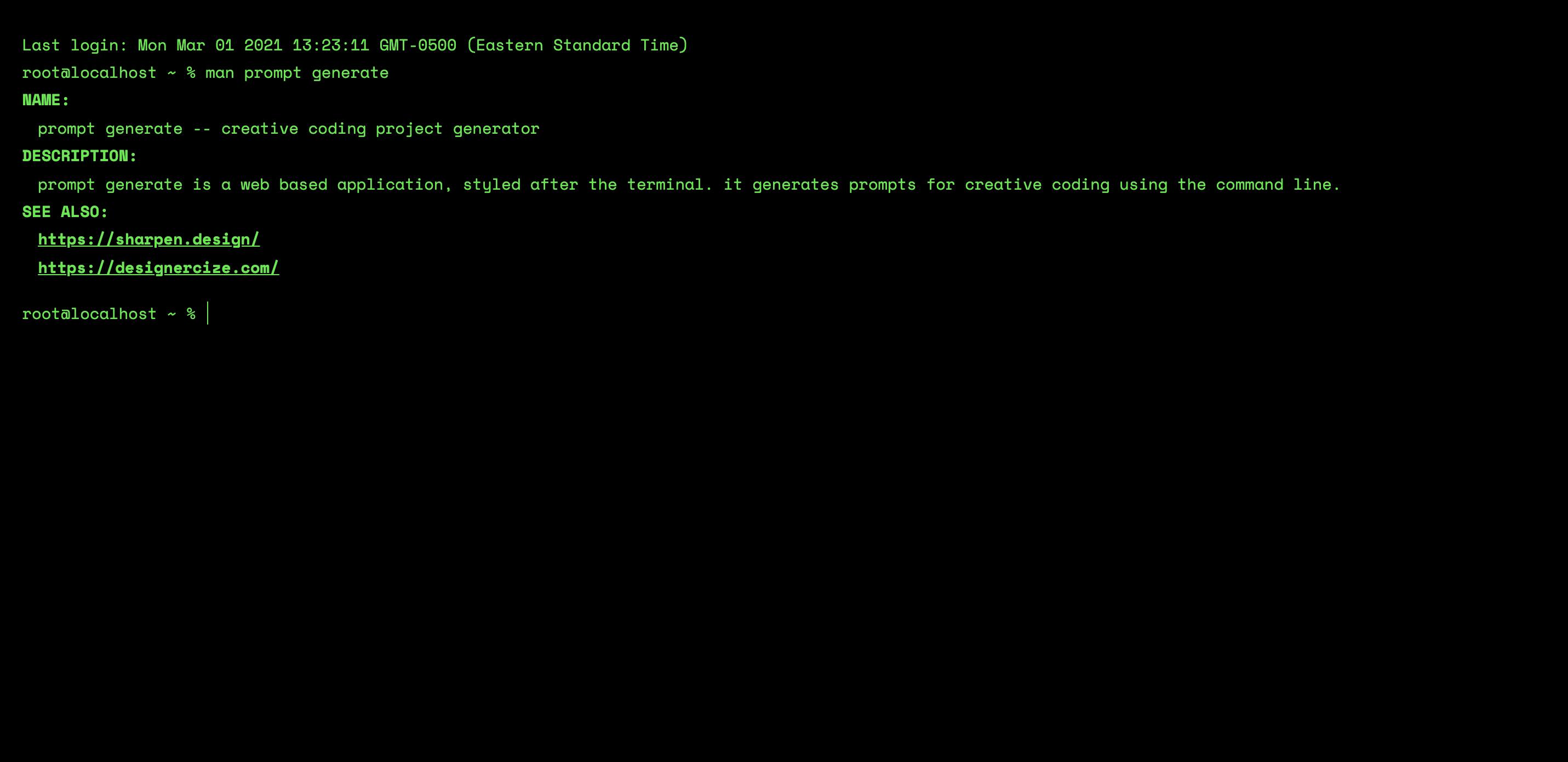 Screenshot of the prompt generator, looking very similar to the Mac terminal